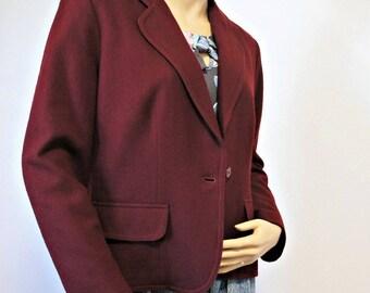 1980's Crop Jacket Style Maroon Short Wool Blazer Women's Preppy Size Small