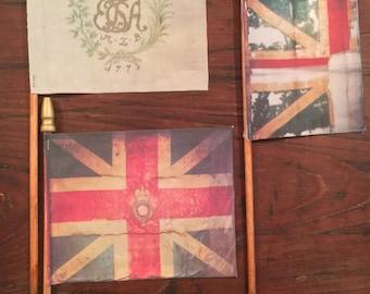 "Surviving Flag Series #8 of The American Revolution Era - CAPTURED FLAGS : Realistic Original Mini Desk Flag 4""x 5""  9.99 Each Flag"
