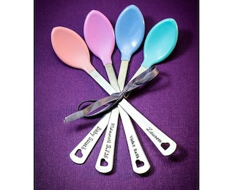 Baby Spoons Baby Shower Gift • Personalized Handstamped • Baby Feeding Spoons • Personalized Spoon New Baby Gift Idea • Toddler • QQQ