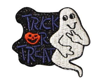ID 0876 Trick or Treat Ghost Patch Halloween Badge Embroidered Iron On Applique