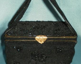 Socialite Vintage Heavily Beaded Black Box Purse / Handbag