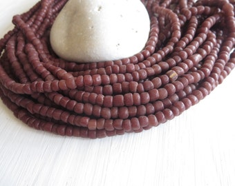 small matte  brown sienna seed beads  glass beads tube barrel spacer , New Indo-pacific 3 to 6mm / 22 inches strand -  6A14-9