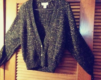Sale was 39 now 30.  Cardigan Lurex Sweater by TOI/Christmas Sweater/Lurex Cardigan/Lurex Sweater/Toi Sweater