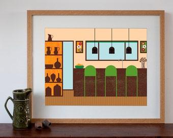 Retro Kitchen Interior - Digital Art Print