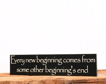 Inspirational Wall Art Sign, Motivational Quotes About Life, Rustic Home Decor Wall Hanging Gift Idea, Wooden Sign About New Beginnings
