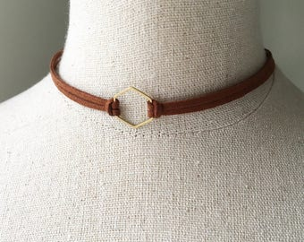 Brown Leather Hexagon Choker, Adjustable Suede Geometric Double Chocker Necklace, Bronze Brass Honeycomb Shape Charm Bridesmaids Boho