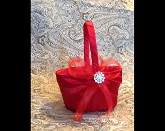 Flower girl basket red satin