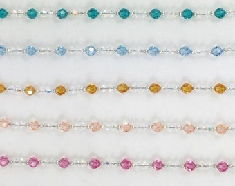 7 1/2 Inch Swarovski Crystal Bracelets in Various Pastel Colors with Silver Satin Gift Bag