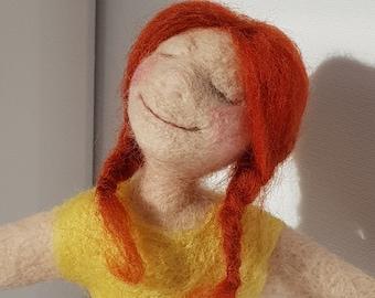 Ooak Needle Felted Art Doll: Joy