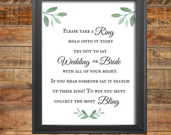 Greenery Take A Ring Shower Sign and Game,  Printable  Take A Ring Shower Sign and Game, Instant Digital Download