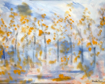 Fall trees landscape white,blue,orange,pink,gray Original Oil Painting 24 x 36 inch on stretched canvas by BrandanC