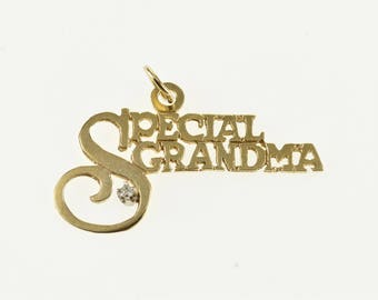 14k Diamond Accented Special Grandma Grandmother Pendant Gold