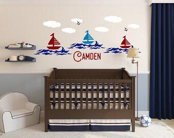 Boys Nautical Wall Decals, Nautical Nursery Decor, Sail boat Decal, Beach wall decal, Beach Decor, Sailing, Nautical Decals, Nursery Decals