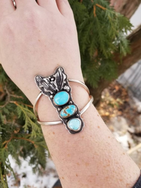Handmade Triple Turquoise Statement Cuff, Sterling Turquoise Bracelet