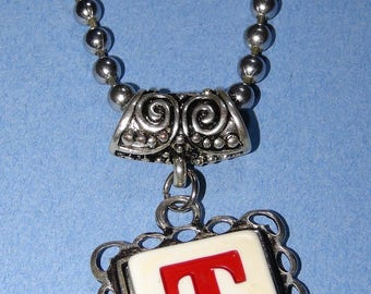 Custom made to order-Handcrafted repurposed game piece initial necklace