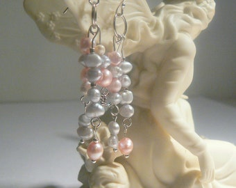 Pearl Earrings, Unique, Sterling Silver