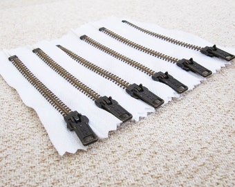 4inch - White Metal Zipper - Brass Teeth - 6pcs