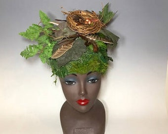 Forest Nymph costume crown, driad headpiece,leather tree headpiece for mother nature