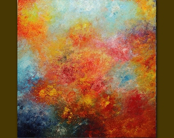 Oil painting Abstract,red,yellow,blue palette knife.