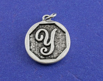 1 pcs-Initial Y Charm, Y Alphabet Pendant, Antiqued Silver Letter Y Coin-As-K85350H-8S