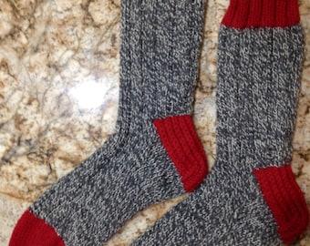 XL la femme tricot main ou grand 100 % laine lourde botte hommes, randonnée, ski, planche à neige chaussettes (B-066)