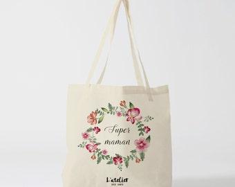X153Y tote bag super MOM, custom tote bag, tote bag, diaper bag, mothers bag, shopping bag, bag, cotton tote bag