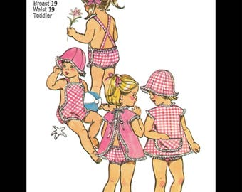 SIMPLICITY 5702 Sewing Pattern PLAYSUIT Ruffled Romper and Beach Hat Kids Child Girls Sunsuit Play Suit *REPRODUCTION* Copy 6mth or 1 or 2
