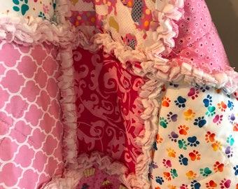 Pet Bedding-Doxie-Dog-Cat Blanket-Rag Quilt-Crate Mat-Dachshund-Modern-Paw Print-Reversible-Pet Supplies-Travel-Reversible-Pink-Blue-Orange.
