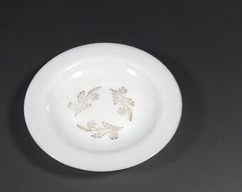 Federal Glass Meadow Gold Soup Bowl - Gold Leaf Milk Glass - Vintage Milk Glass