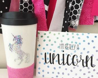 Sparkle Unicorn Travel Mug; Glitter Unicorn; Unicorn Coffee Mug; Unicorn; Travel Mug; Rainbow Unicorn