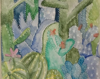Original painting Cactus Forest Watercolor No. 8