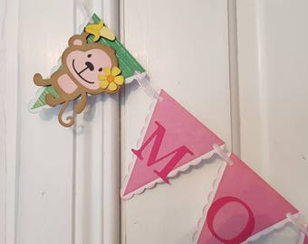 Monkey Bunting, Monkey Garland, Monkey Banner, Birthday Bunting, Birthday Banner, Birthday Garland, Birthday Party Decorations, Party Decor