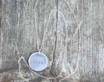 Sterling Silver and Aluminum Stamped Disc Live Necklace
