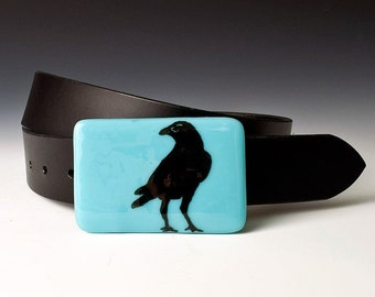 Fused Glass Crow Buckle