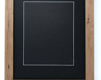 """11x14 1.25"""" Rustic Natural Solid Wood Picture Frame with Black Mat Cut for 8x10 Picture"""