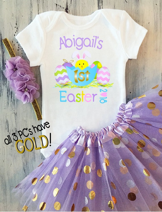 Baby girl my first easter outfit baby girl personalized first like this item negle Images