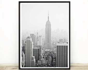New York Print, City Skyline, Empire State, New York Art, Large New York print, Digital Download, New York Wall Art, Photography, #237