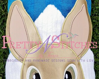 Rabbit Peeker Applique Embroidery Design, includes 2D and 3D for 5X7 Hoop