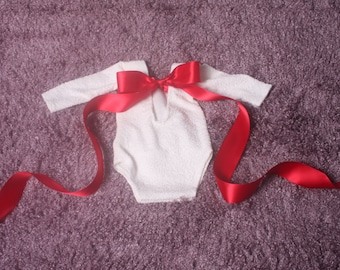 Newborn Baby Girl White Christmas Romper Long sleeves low back red satin ribbon at the back stretchy material  photography Valentine romper