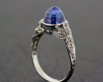 Art Deco Sapphire Ring   Antique 1920s Engagement Ring Sapphire U0026 Diamond  Art Deco In Platinum