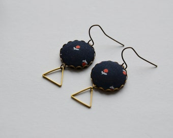 Earrings dangling brass triangle and blue liberty fabric