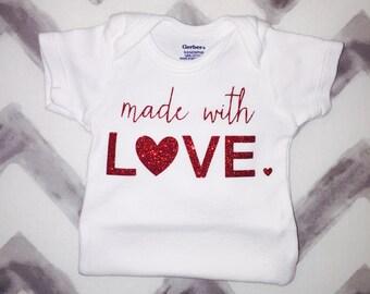 Made with love onesie, Valentines Day onesie, Made with love, new baby, baby gift, baby onesie, customized onesie, love onesie, baby clothes