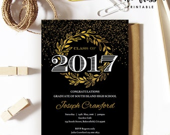 Black and Gold Graduation Invitation | Class of 2017 | 5x7 | Editable PDF | Instant Download | DIY at home with Adobe Reader