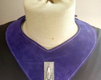 Purple nubucke leather bib necklace