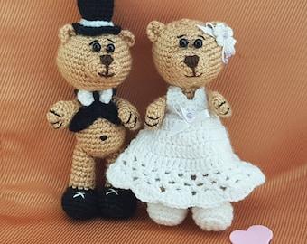 Wedding bears wedding toys wedding gift bride and groom teddy bears crochet bear marriage toys wedding collectible bear Wedding kids favors