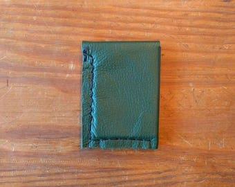 Minimal Leather Wallet, Handmade in Texas with Recycled Leather, Green