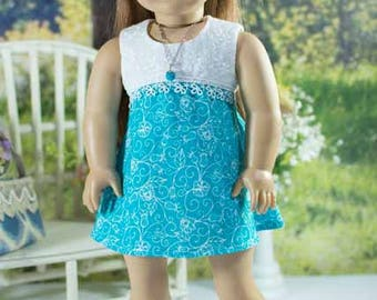 18 Inch Doll DRESS in Turquoise and White Eyelet with Necklace and SANDALS Option for dolls like American Girl