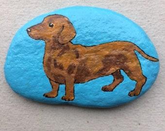 Dachshund painted rock