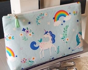 Zipper Bag Zipper Pouch Make Up Bag Unicorn fabric