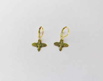 Bee Charm Gold Colored Drop Earrings